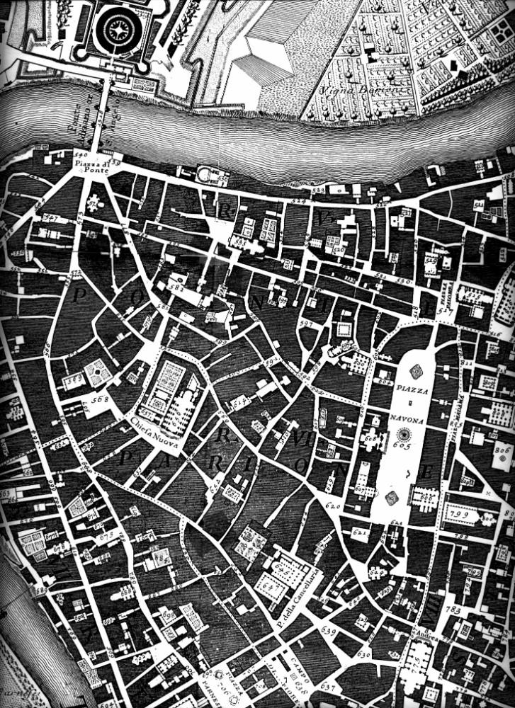 Karta av Giovanni Battista Nolli 1748. Marsfaltet med detaljerat gatunat och Piazza Navona