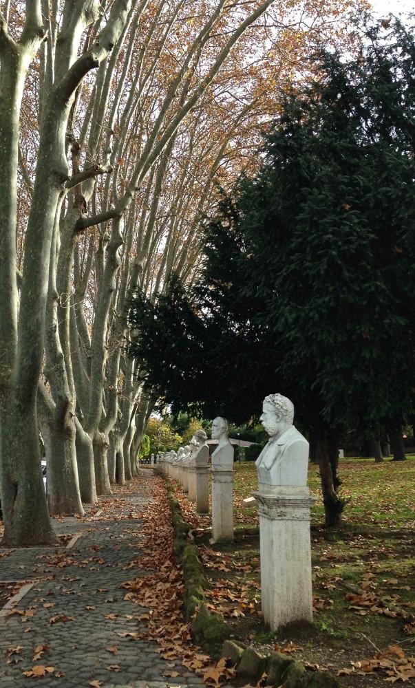 Parken på Gianicolo med minnesstoder under platanerna, foto Bjur arkitekter 2014